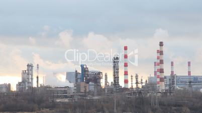 Pipes of the oil refining factory