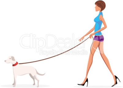 lady with dog on white background