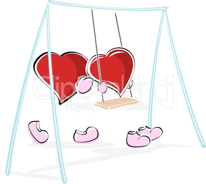 illustration of hearts in park