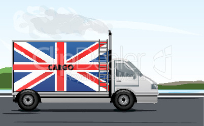 illustration of england lorry on road