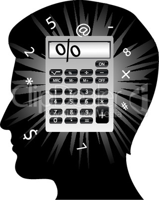 creative man's mind with calculator