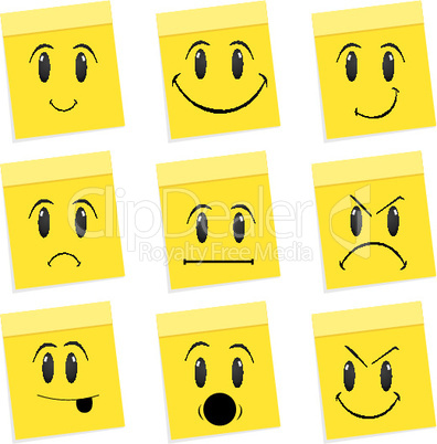 expressions of face on white background