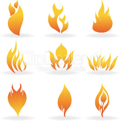 shapes of fire with white background