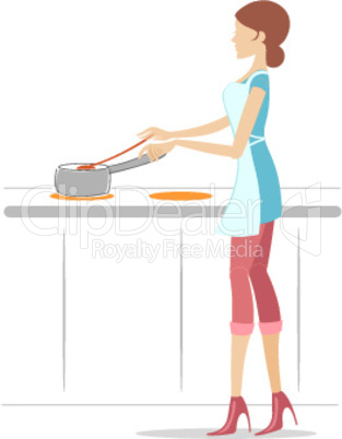cooking by a girl with white background