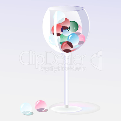 glass beads in a glass