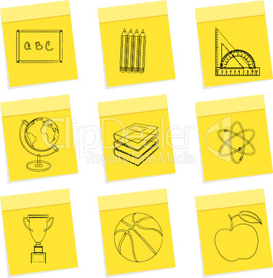 study sketch icons on white background