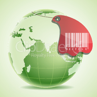 globe with barcode