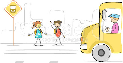 kids at bus stop waiting for school bus