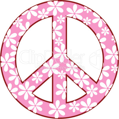 peace symbol with floral texture