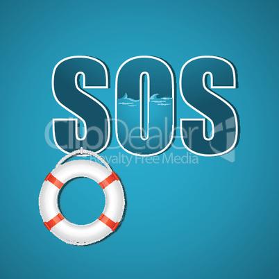illustration of sos with lifebuoy