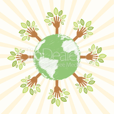 hand tree around globe