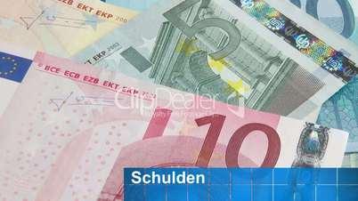 Euro Geldscheine - Schulden