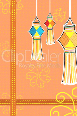 diwali card with candle