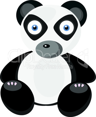 Little cute panda on white background