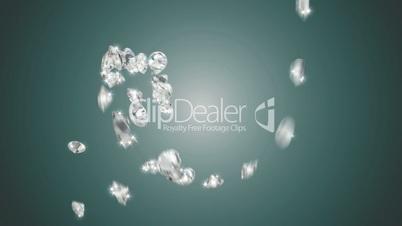 Large diamonds swirl flow with slow motion