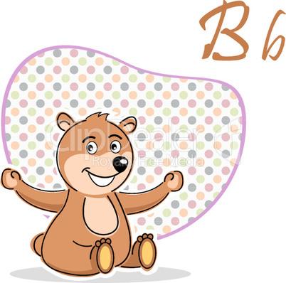 b for bear with  taddy bear