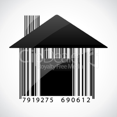 illustration of barcode home