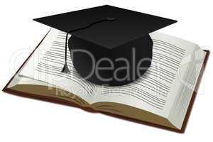 doctorate cap with book