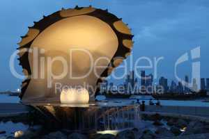 Pearl and oyster fountain in Doha