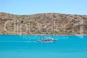 The recreation motorboat with tourists, Crete, Greece