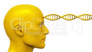 Golden Awakening - Male Head with DNA