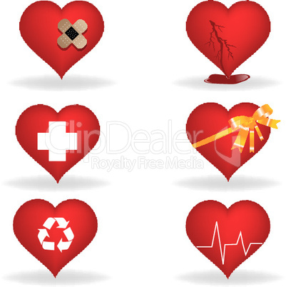illustration of hearts icons