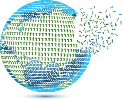 globe with binary number