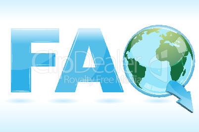 faq icon  with globe