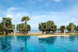 Swimming pools at the beach of luxury hotel, Pattaya, Thailand