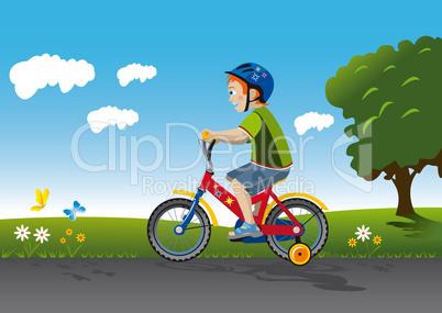 Boy ride bike