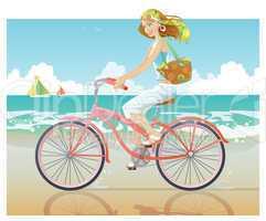Girl ride bike beside beach