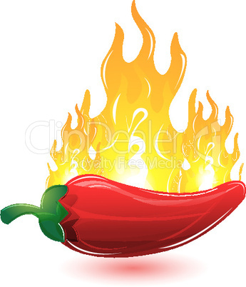 red chilli with fire