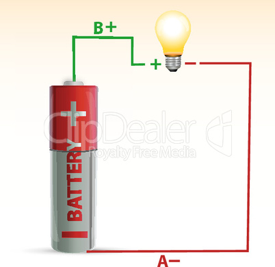 battery with electric bulb