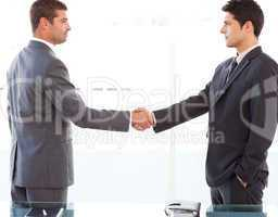 Serious businessmen shaking their hands after a meeting