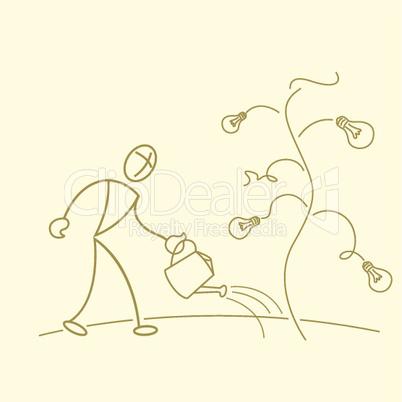 businessman gardening in bulb tree