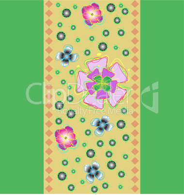 Tape with the stylized flowers