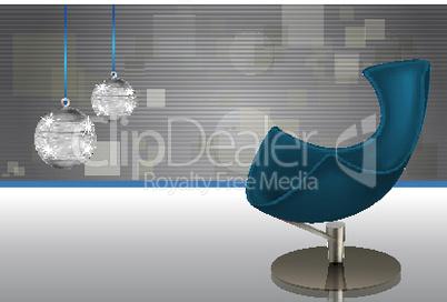modern chair with disco ball