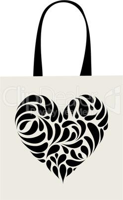 Shopping bag design, heart shape ornament