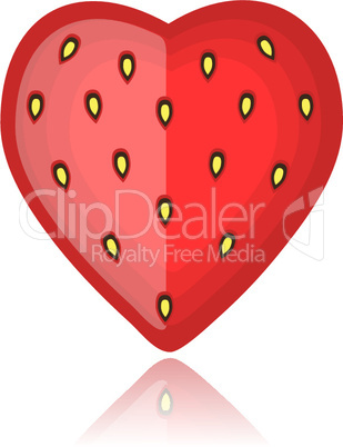Strawberry, heart shape red on white