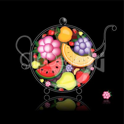 Fruit drink, teapot on black for your design
