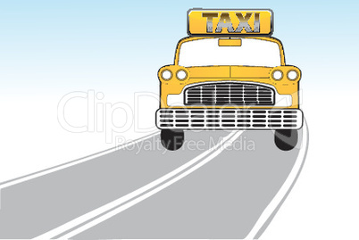 illustration of taxi on the way