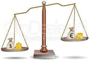 beam balance with currency bags
