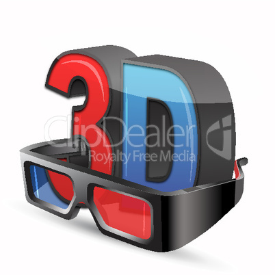 3d eyewear on white background