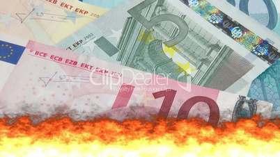Euro Geldscheine verbrennen - Euro Cash burning