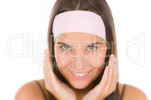 Teenager problem skin care - young woman