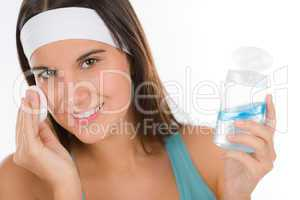 Teenager problem skin care - woman cleanse
