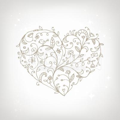 Floral ornament heart shape for your design