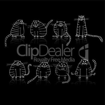 Funny striped cats silhouette for your design