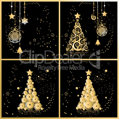 Christmas tree beautiful, cards for your design