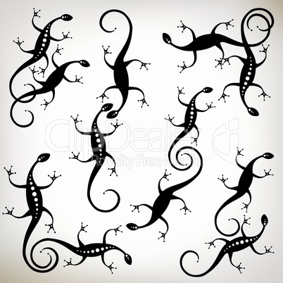 Lizard black silhouette, collection for your design